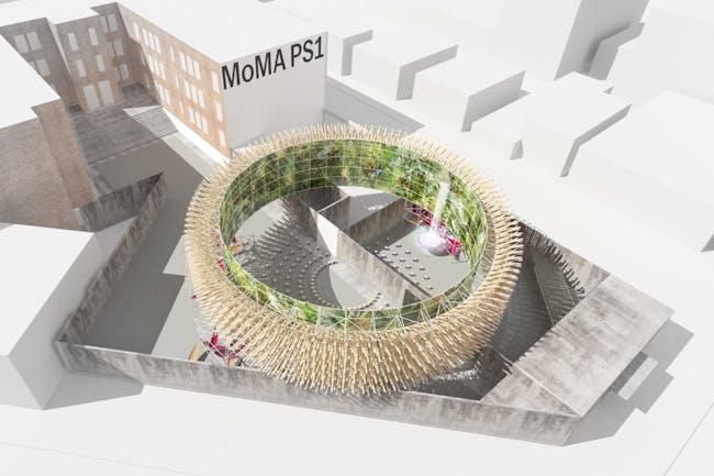 Rendering of Hórama Rama by Pedro & Juana, winner of the 2019 Young Architects Program. Ana Paula Ruiz Galindo & Mecky Reuss. Mexico City, Mexico.