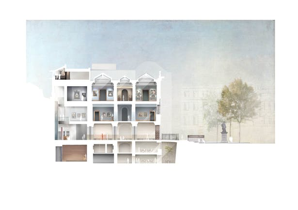 Proposed section of remodel of NPG by Jamie Fobert Architects
