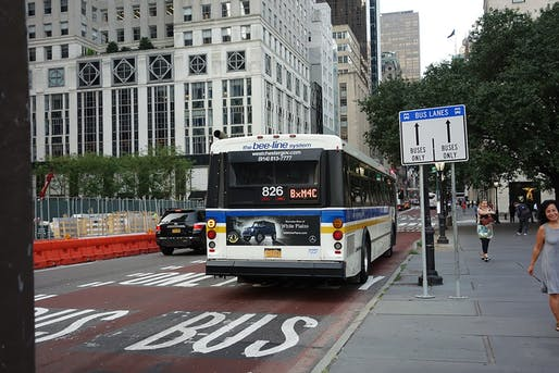 New York City has debuted a new car-free street running east-west through Manhattan. Shown: a view of a similar express bus lane located on 59th Street. Image courtesy of Wikimedia user Tdorante10.