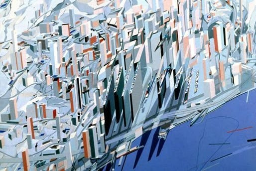 Hadid's Hong Kong painting, part of her proposal for the Peak, a recreational center in Hong Kong. Hadid presents on the project in her 1985 SCI-Arc lecture.