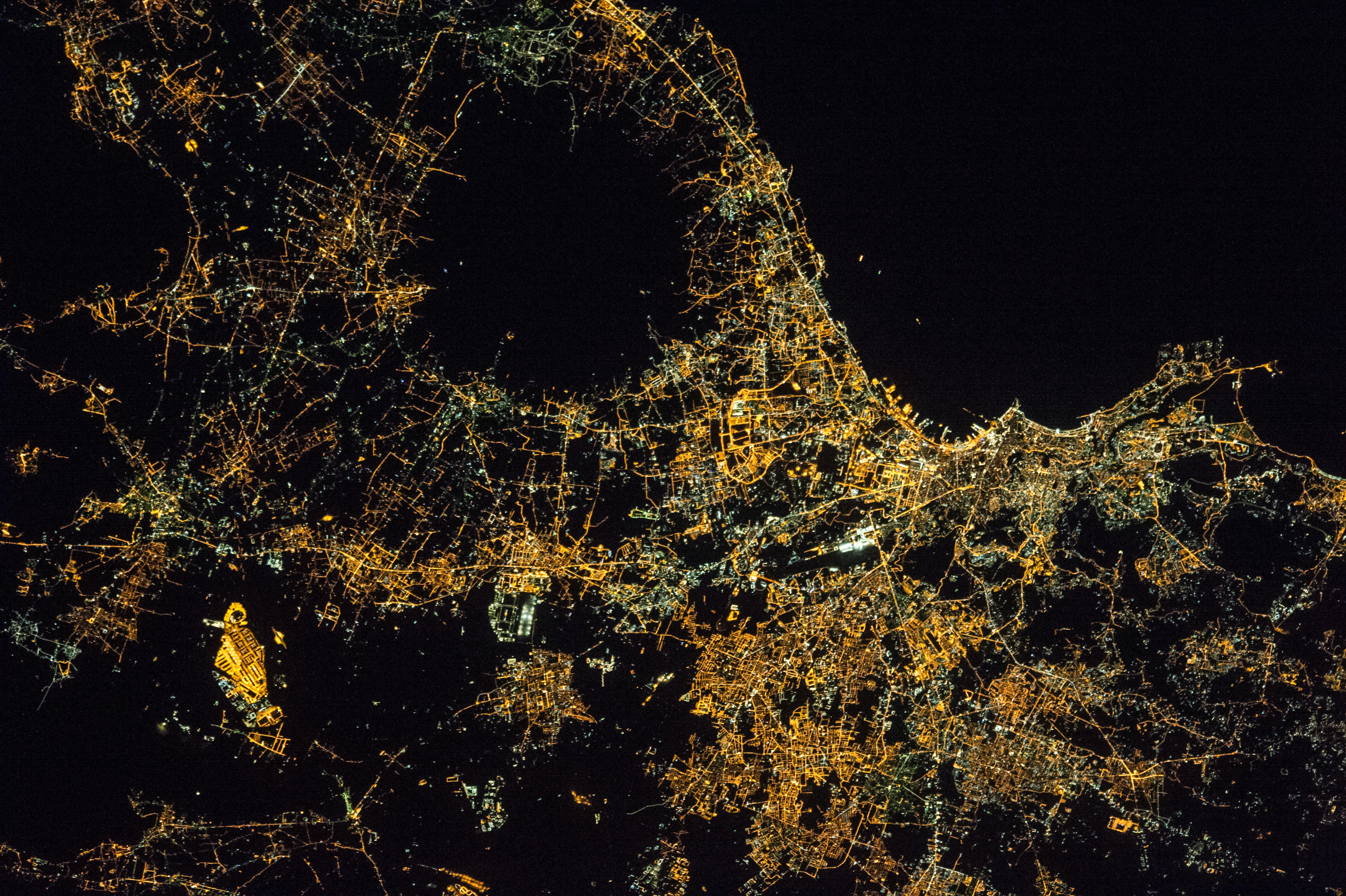 Naples and Mt. Vesuvius at Night. NASA Photo ID ISS050-E-37024