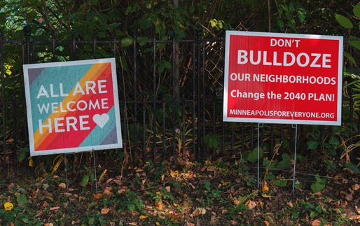 Anti-Minneapolis 2040 Comprehensive Plan Lawn Sign and All Are Welcome Here Sign, photo by Tony Webster