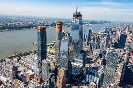 Aerial view of the enormous Hudson Yards development in May 2018 with 35 Hudson Yards peaking out from the center back. Image courtesy of Related-Oxford.
