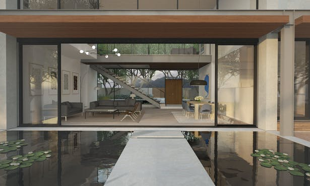 Looking over the koi pond bridge from the rear terrace to the main living space. Full height sliding doors helps create a connection between the interior and exterior.