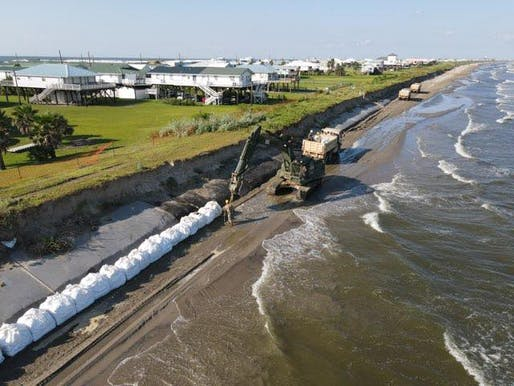 Louisiana National Guard Soldiers with the 843rd Engineer Company worked around the clock to assist local and state agencies to reinforce the exposed burrito levee in Grand Isle in preparation for Tropical Storms Marco and Laura, later a Hurricane in August 2020. Photo courtesy Louisiana National...
