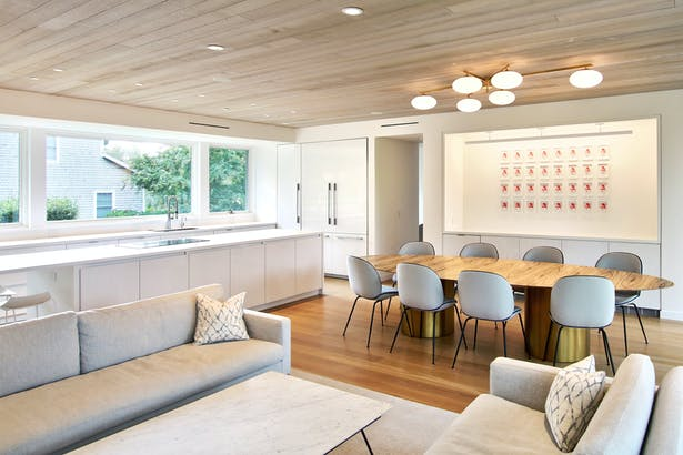 Cedar Ceilings Provide a Warm Balance to the Bright, White Interiors