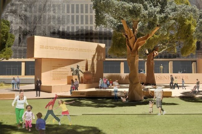 A model image, provided by the Eisenhower Memorial Commission, shows the proposed Dwight D. Eisenhower Memorial to be built in Washington. The design is by architect Frank Gehry. (Associated Press _ March 17, 2013)