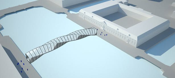 A continuous frontier around the planar sections defines the volume of the bridge and underlines the path to the Hermitage