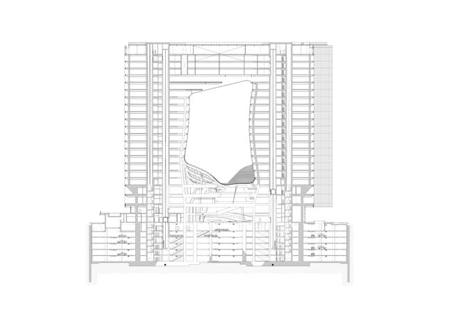 ZHA: Opus, Section A0 @ 200. Image courtesy of Zaha Hadid Architects.