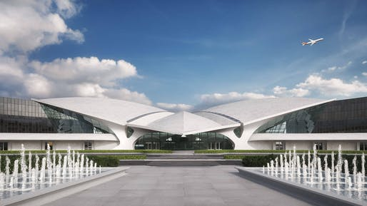 Rendering of the TWA Hotel, scheduled to open adjacent to Eero Saarinen's landmark building at JFK Airport in Mai 2019. Image via TWA Hotel's website.