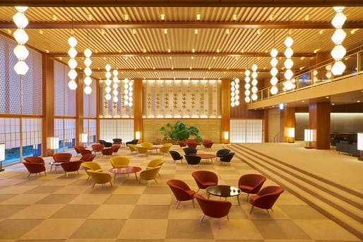 "The lobby of the newly opened Okura Tokyo recreates memories of the original, demolished Hotel Okura. Photo: Okura Hotels & Resorts/<a href=""https://www.facebook.com/OkuraHotels/photos/a.883119221728783/3187291754644840/?type=3&theater"">Facebook</a>"
