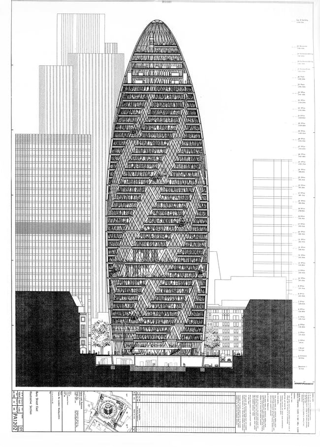 """As this diagrammatic section through a near-final version of the tower shows, atriums two and six floors tall link many of the office floors. Foster + Partners, Sheet PA1202, """"Bury Street East Illustrative Section,"""" from a drawing set submitted with the final planning application for 30 St Mary Axe, July 1999. Courtesy of Foster + Partners."""
