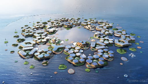 AERIAL: Located in calm, sheltered waters, near coastal megacities, OCEANIX City will be an adaptable, sustainable, scalable and affordable solution for human life on the ocean.