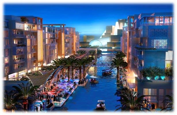 Canal to Guggenheim Night View