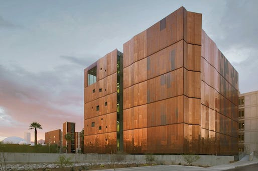 """Metal cladding at the <a href=""""https://archinect.com/firms/project/150188890/meinel-optical-sciences-research-lab-university-of-arizona/150188922"""">Meinel Optical Sciences Research Lab</a> at the University of Arizona by Richärd Kennedy Architects. The price of steel mill products has risen 108.6% in the last 12 months. Photo: Bill Timmerman."""