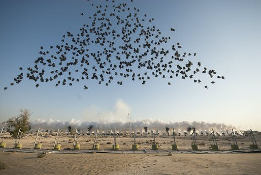 "The work ""Black Ceremony"" by artist Cai Guo-Qiang in Doha Qatar, December 5, 2011."
