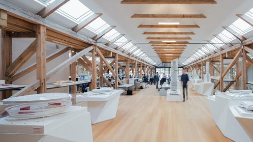 """3XN's architecture studio, one of many shown in our previous <a href=""""https://archinect.com/features/article/149987443/office-still-life-from-renzo-piano-to-mad-architects-marc-goodwin-captures-the-inner-worlds-of-architecture-firms"""">feature article with architectural photographer Marc Goodwin on the inner worlds of architecture firms</a>. Photo credit: Marc Goodwin/Archmospheres."""