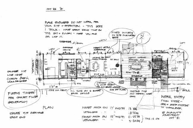 Glenn Murcutt's Frederick White House Sketches. Courtesy Architecture Foundation Australia