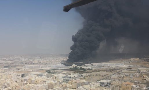 View of the fire that engulfed the Suleimaniyah station in Jeddah. Image courtesy of Makkah Government.