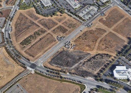 An undated aerial image of Apple's vacant San Jose property shows the growing encampment along Component Drive. Image: Google Maps.