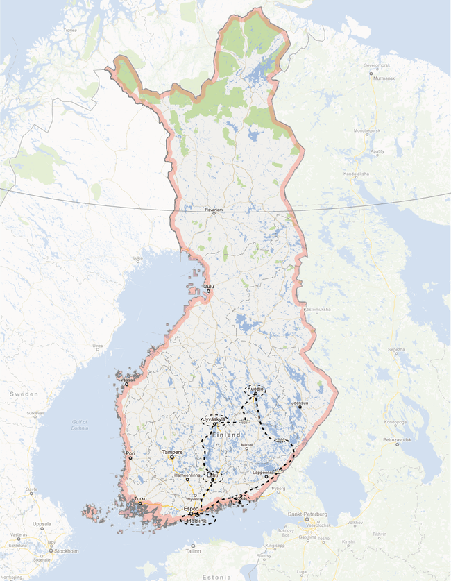 Route of the Finnish Lakelands excursion. Map by Jennifer Wong.