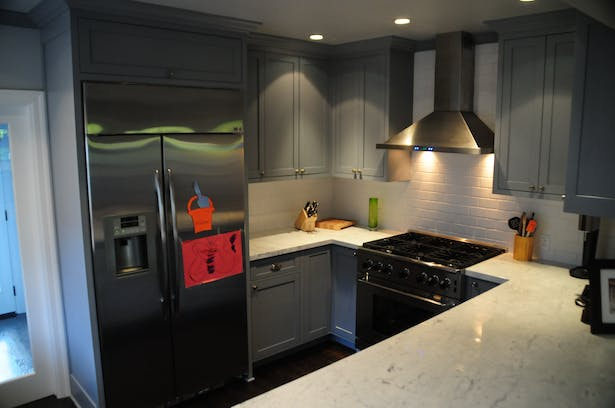Rerouting access to the kitchen allowed more counter space.