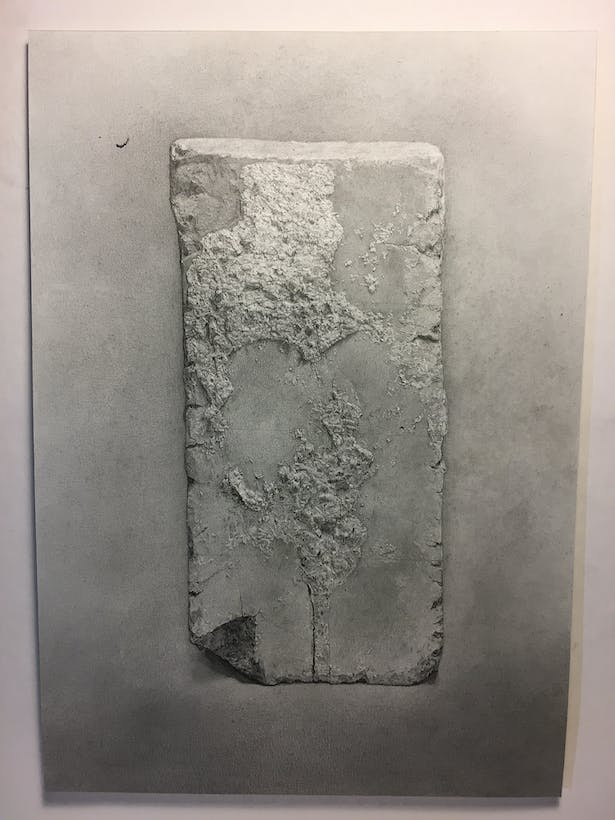 Graphite drawing of a brick from still life