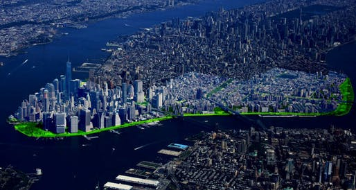 Rendering of NYC's flood-protection proposal for Lower Manhattan. Image via The New York Times.