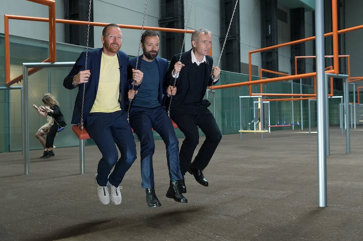 The three collaborating artists in Superflex, Jakob Fenger, Rasmus Nielsen and Bjørnstjerne Christiansen