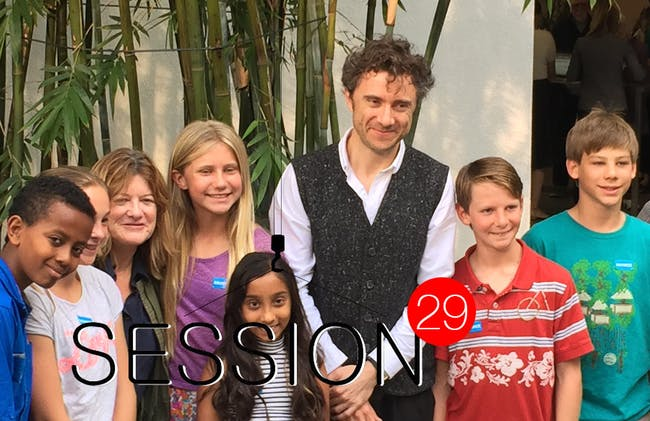 Thomas Heatherwick with some of his younger fans in the courtyard at the Hammer Museum. Photo by Paul Petrunia.