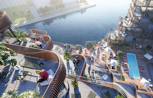 Looking down across the multi-tired decks onto the amenity terrace. Credit: 3XN.