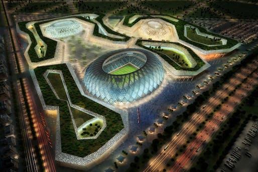 Rendering of the Al-Wakrah stadium complex in Doha designed by Albert Speer & Partner. Image: AS&P/ hhvision, via spiegel.de