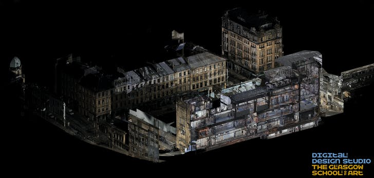 Laser scan of the damage to the GSA, courtesy of Glasgow School of Art.