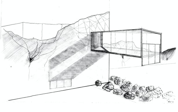 Hand Drawn Perspective of the Projection thru the Jailhouse wall