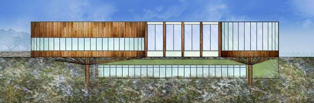 Lotus Wellness Community Exterior Elevation - South: AutoCAD, Adobe Photoshop