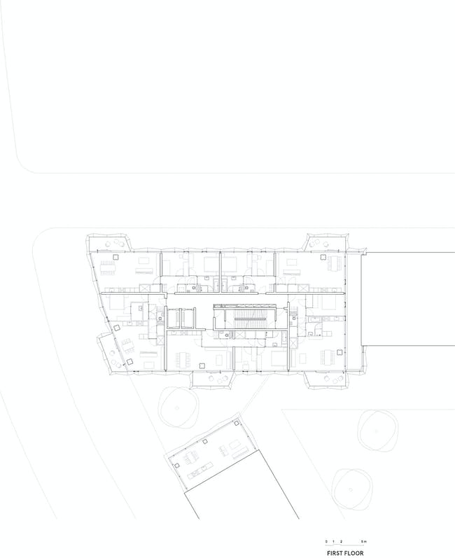 E' Tower First floor plan. Image: Wiel Arets Architects