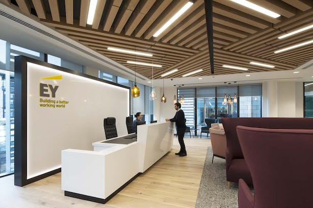 Reception area, bespoke timber ceiling with inset lighting