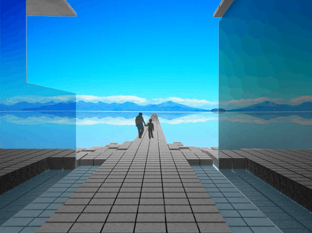 View of Flooded Salt Flats from Between Reflective Glass Clad Buildings | VRay Render and Photoshop