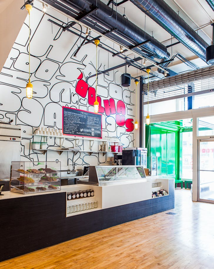 Graphics and interior design for Coolhaus Ice Cream's second location in Pasadena, CA. Image via Design, Bitches firm profile page.