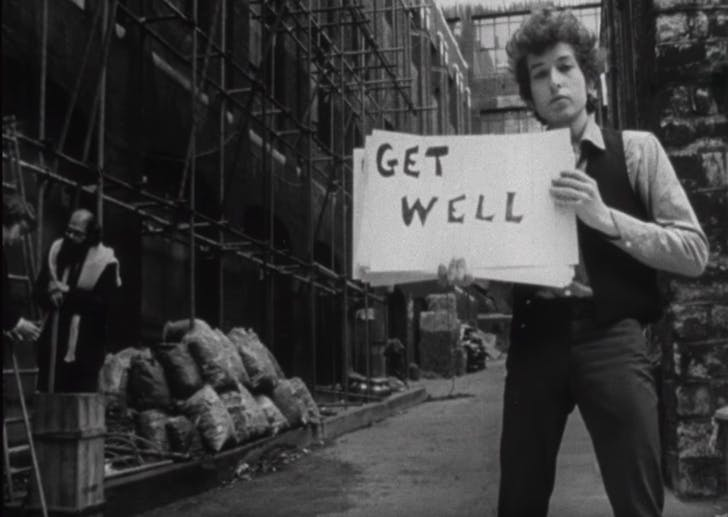 Decide whether you want to go with slides, or printed boards. Screenshot of Bob Dylan's 'Subterranean Homesick Blues' via youtube.com.