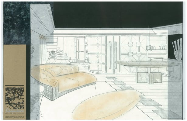 Penthouse Addition   Interior Hand-Sketch