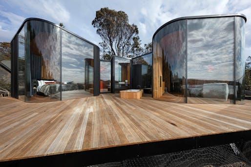 Freycinet Lodge Coastal Pavilions by Liminal Architecture. Location: Coles Bay, Tasmania, Australia. Photo credit: Dianna Snape