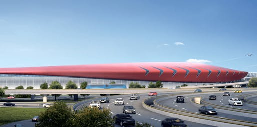 Rendering of the proposed modernization of Boston Logan International Airport's Terminal E. Image: AECOM.