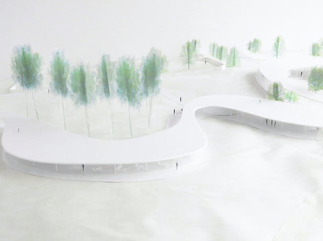 Close up of model view of The River. Image courtesy of Grace Farms and SANAA