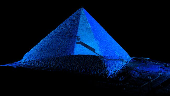 Point Cloud & CGI Image of the Great Pyramid in Giza. Courtesy of Atlantic Productions