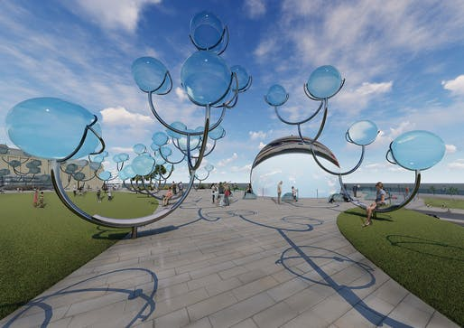 """Solar Orbs"", A submission to the Land Art Generator Initiative (LAGI) 2018 Competition for Melbourne. TEAM: Kaitlin Campbell, Chad Grevelding, Bridget Snover, Kyle Stillwell. TEAM LOCATION: Latham, NY, USA. ENERGY TECHNOLOGIES: dual-axis tracking concentrated photovoltaic thermal (CPV+T)..."