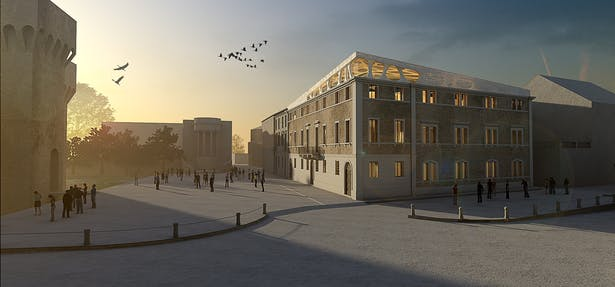 Facade and roof - Sunset view - Photo insertion