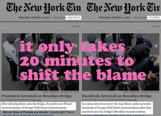 changed coverage of NYT on OccupyWallStreet via rusty!