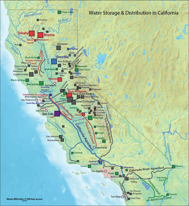 'California water system' by Shannon1 via wikipedia.org, background image in public domain.