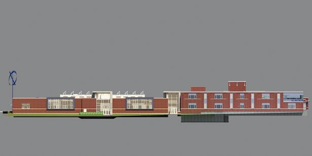The John C. Dunham STEM Partnership School, Elevation, Cordogan Clark & Associates